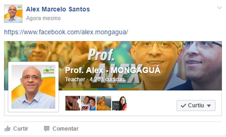 Página do Prof. Alex, no Facebook.