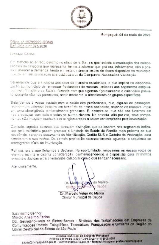 Ofício Prefeitura de Mongaguá